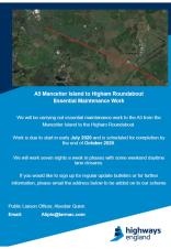 NOTIFICATION OF ESSENTIAL MAINTENANCE WORKS - A5 MANCETTER ISLAND TO HIGHAM ROUNDABOUT
